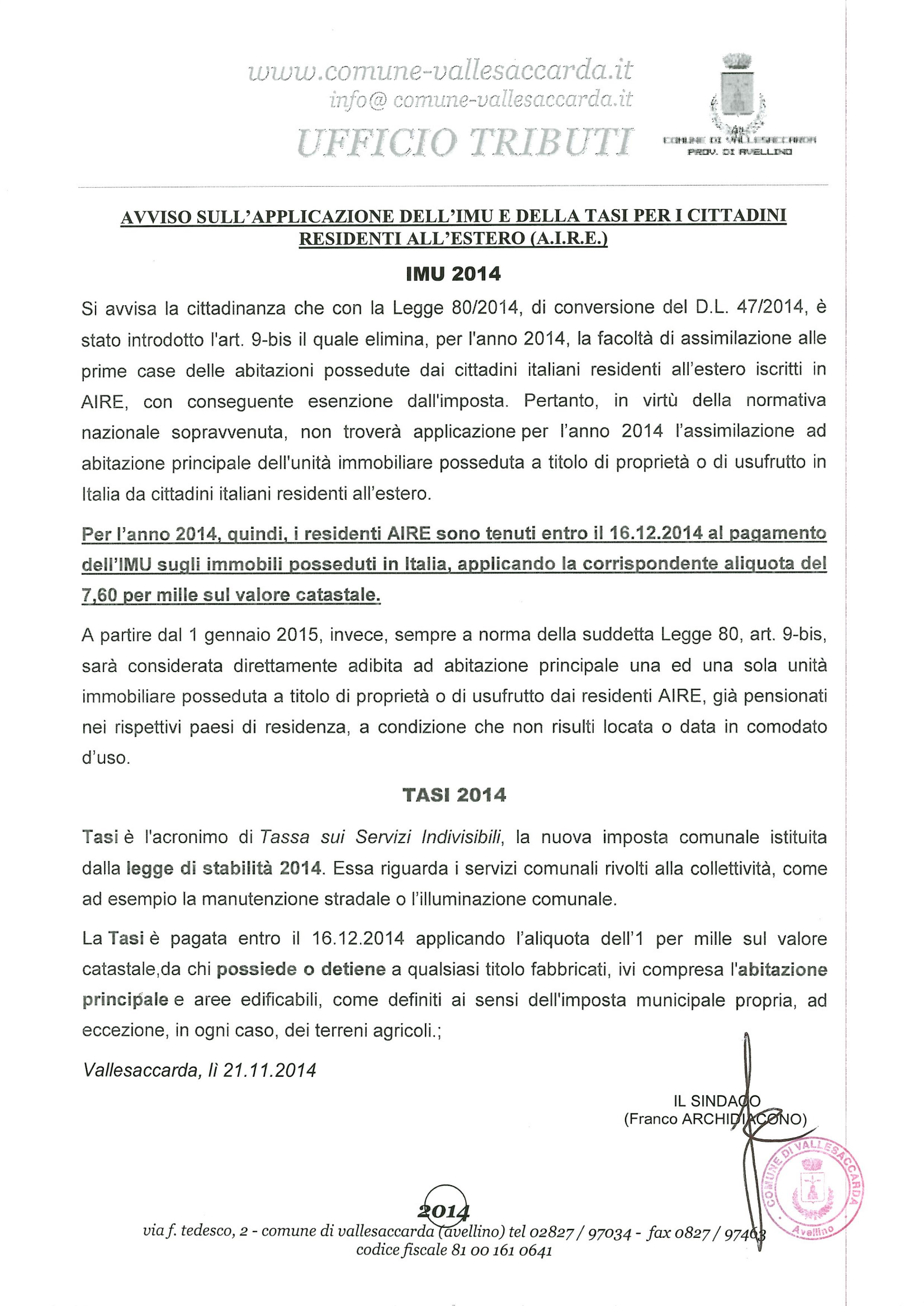 Avviso imu e tasi per i cittadini residenti all 39 estero a for Pagamento imu
